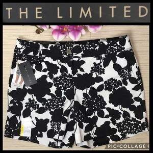The Limited Black White Floral Print Shorts